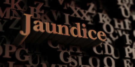 jaundice: jaundice - Wooden 3D rendered lettersmessage.  Can be used for an online banner ad or a print postcard. Stock Photo