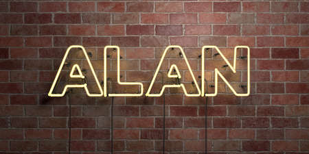 ALAN - fluorescent Neon tube Sign on brickwork - Front view - 3D rendered royalty free stock picture. Can be used for online banner ads and direct mailers.