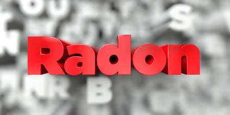 Radon -  Red text on typography background - 3D rendered royalty free stock image. This image can be used for an online website banner ad or a print postcard. 스톡 콘텐츠