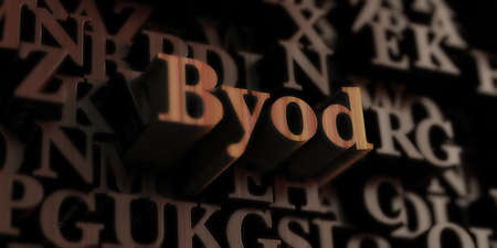 BYOD - Wooden 3D rendered lettersmessage.  Can be used for an online banner ad or a print postcard. Stock Photo
