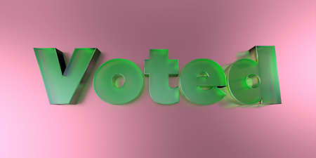 Voted - colorful glass text on vibrant background - 3D rendered royalty free stock image.