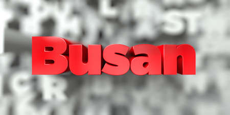 Busan -  Red text on typography background - 3D rendered royalty free stock image. This image can be used for an online website banner ad or a print postcard.