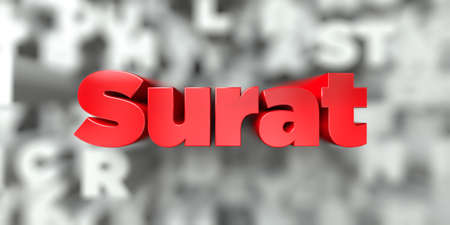Surat -  Red text on typography background - 3D rendered royalty free stock image. This image can be used for an online website banner ad or a print postcard. Stock Photo