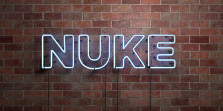 nuke: NUKE - fluorescent Neon tube Sign on brickwork - Front view - 3D rendered royalty free stock picture. Can be used for online banner ads and direct mailers. Stock Photo