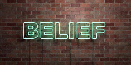 BELIEF - fluorescent Neon tube Sign on brickwork - Front view - 3D rendered royalty free stock picture. Can be used for online banner ads and direct mailers. Stock Photo