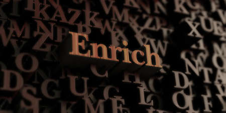 Enrich - Wooden 3D rendered lettersmessage.  Can be used for an online banner ad or a print postcard. Stock Photo