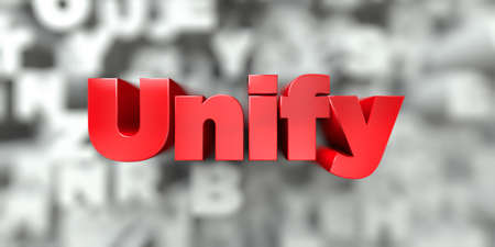 unify: Unify -  Red text on typography background - 3D rendered royalty free stock image. This image can be used for an online website banner ad or a print postcard. Stock Photo