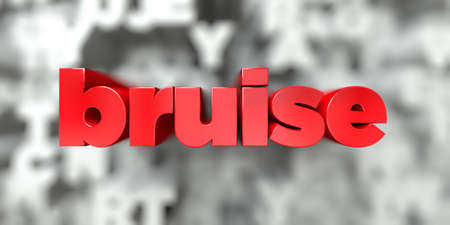 bruise -  Red text on typography background - 3D rendered royalty free stock image. This image can be used for an online website banner ad or a print postcard.