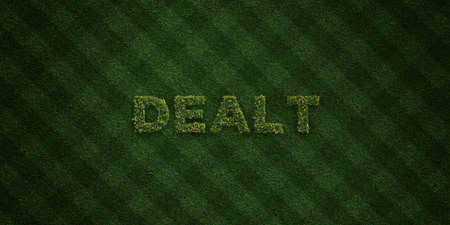 dealt: DEALT - fresh Grass letters with flowers and dandelions - 3D rendered royalty free stock image. Can be used for online banner ads and direct mailers.