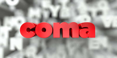 coma -  Red text on typography background - 3D rendered royalty free stock image. This image can be used for an online website banner ad or a print postcard. Stock Photo