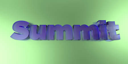 Summit - colorful glass text on vibrant background - 3D rendered royalty free stock image.