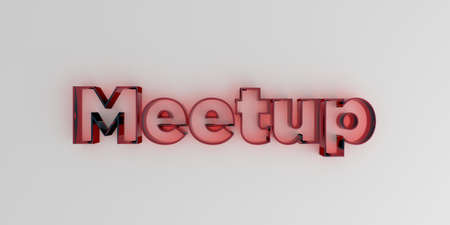 meetup: Meetup - Red glass text on white background - 3D rendered royalty free stock image.