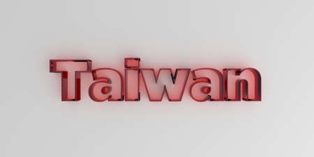 Taiwan - Red glass text on white background - 3D rendered royalty free stock image. Reklamní fotografie