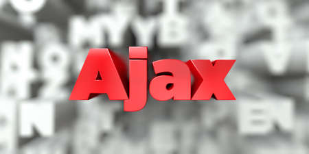 ajax: Ajax -  Red text on typography background - 3D rendered royalty free stock image. This image can be used for an online website banner ad or a print postcard.