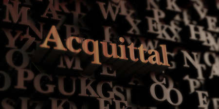 acquittal: Acquittal - Wooden 3D rendered lettersmessage.  Can be used for an online banner ad or a print postcard.