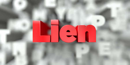 Lien -  Red text on typography background - 3D rendered royalty free stock image. This image can be used for an online website banner ad or a print postcard. Stock Photo