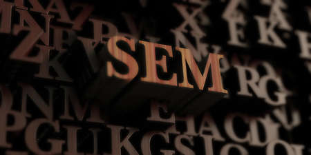 SEM - Wooden 3D rendered letters/message.  Can be used for an online banner ad or a print postcard. Stock Photo - 72608966