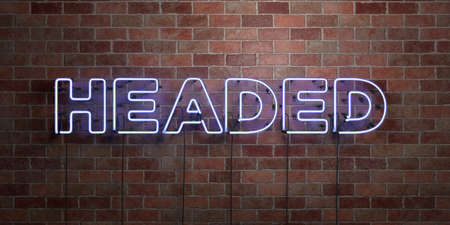 three headed: HEADED - fluorescent Neon tube Sign on brickwork - Front view - 3D rendered royalty free stock picture. Can be used for online banner ads and direct mailers. Stock Photo