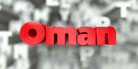 Oman -  Red text on typography background - 3D rendered royalty free stock image. This image can be used for an online website banner ad or a print postcard.