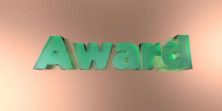 Award - colorful glass text on vibrant background - 3D rendered royalty free stock image.
