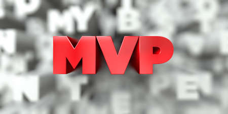 MVP -  Red text on typography background - 3D rendered royalty free stock image. This image can be used for an online website banner ad or a print postcard. 스톡 콘텐츠