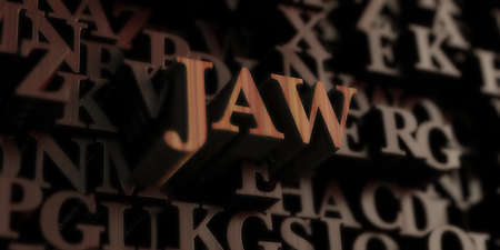 jaw - Wooden 3D rendered lettersmessage.  Can be used for an online banner ad or a print postcard. Stock Photo
