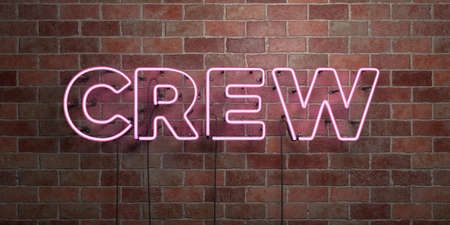 single word: CREW - fluorescent Neon tube Sign on brickwork - Front view - 3D rendered royalty free stock picture. Can be used for online banner ads and direct mailers.