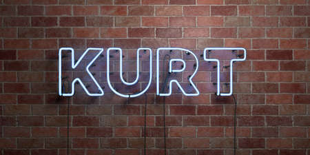 KURT - fluorescent Neon tube Sign on brickwork - Front view - 3D rendered royalty free stock picture. Can be used for online banner ads and direct mailers. Stok Fotoğraf