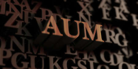 aum: Aum - Wooden 3D rendered lettersmessage.  Can be used for an online banner ad or a print postcard.