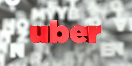 uber -  Red text on typography background - 3D rendered royalty free stock image. This image can be used for an online website banner ad or a print postcard.