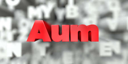 Aum -  Red text on typography background - 3D rendered royalty free stock image. This image can be used for an online website banner ad or a print postcard.