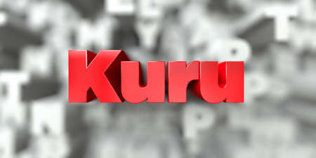 Kuru -  Red text on typography background - 3D rendered royalty free stock image. This image can be used for an online website banner ad or a print postcard. Stok Fotoğraf