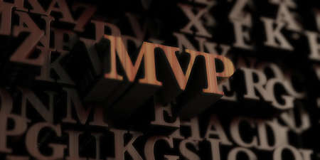 MVP - Wooden 3D rendered lettersmessage.  Can be used for an online banner ad or a print postcard. Stock Photo