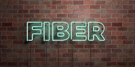 dark fiber: FIBER - fluorescent Neon tube Sign on brickwork - Front view - 3D rendered royalty free stock picture. Can be used for online banner ads and direct mailers.