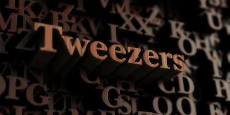 tweezers - Wooden 3D rendered lettersmessage.  Can be used for an online banner ad or a print postcard.