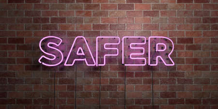 safer: SAFER - fluorescent Neon tube Sign on brickwork - Front view - 3D rendered royalty free stock picture. Can be used for online banner ads and direct mailers.