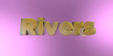 Rivers - colorful glass text on vibrant background - 3D rendered royalty free stock image.