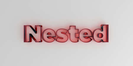 nested: Nested - Red glass text on white background - 3D rendered royalty free stock image. Stock Photo