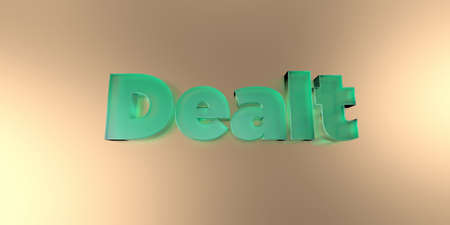 dealt: Dealt - colorful glass text on vibrant background - 3D rendered royalty free stock image. Stock Photo