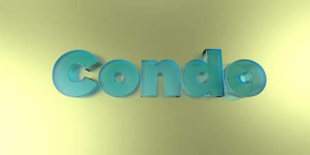 Condo - colorful glass text on vibrant background - 3D rendered royalty free stock image.