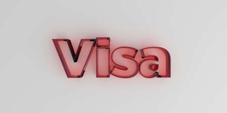 Visa - Red glass text on white background - 3D rendered royalty free stock image. 版權商用圖片