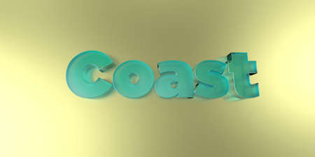 Coast - colorful glass text on vibrant background - 3D rendered royalty free stock image. Stock Photo