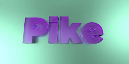 Pike - colorful glass text on vibrant background - 3D rendered royalty free stock image.