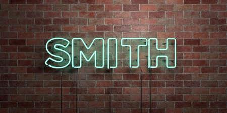 SMITH - fluoreszierende Neonröhre Zeichen auf Mauerwerk - Vorderansicht - 3D gerendert lizenzfreie Bild. Kann für Online-Bannerwerbung und Direktwerbung verwendet werden. Standard-Bild - 72859893