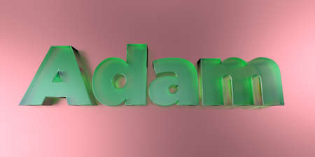 adam: Adam - colorful glass text on vibrant background - 3D rendered royalty free stock image.