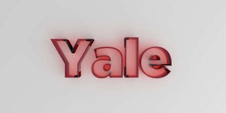 yale: Yale - Red glass text on white background - 3D rendered royalty free stock image.