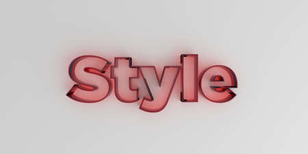 Style - Red glass text on white background - 3D rendered royalty free stock image. Stock Photo