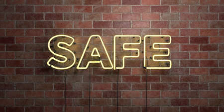 SAFE - fluorescent Neon tube Sign on brickwork - Front view - 3D rendered royalty free stock picture. Can be used for online banner ads and direct mailers.