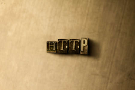HTTP - close-up of grungy vintage typeset word on metal backdrop. Royalty free stock illustration.  Can be used for online banner ads and direct mail.