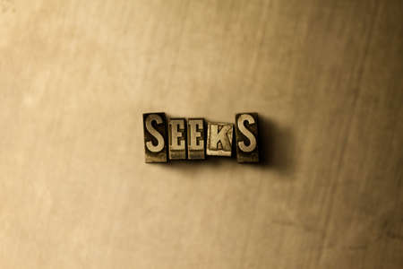 SEEKS - close-up of grungy vintage typeset word on metal backdrop. Royalty free stock illustration.  Can be used for online banner ads and direct mail.